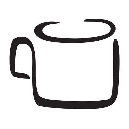 Simple vector line illustration of mug in black and white Stock Illustratie