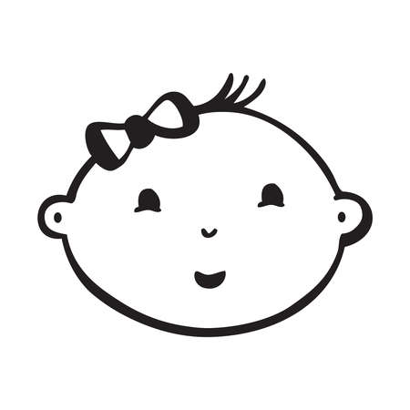 Line vector drawing of smiling baby face