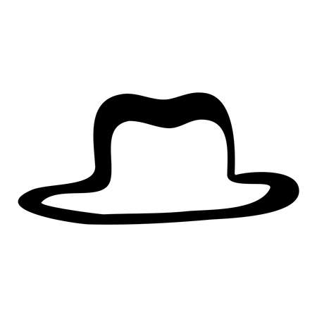 Cowboy hat line art vector icon in black and white Stock Illustratie