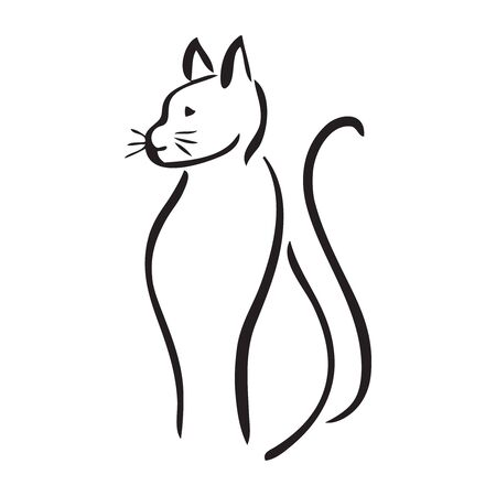 Illustration of cat sitting pretty with tail curled Stock Illustratie