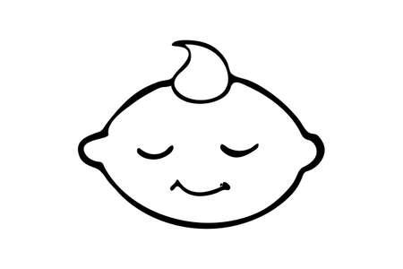 Illustration of baby face   isolated on white background
