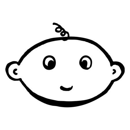 smiling baby outline icon style design with curl Stock Illustratie