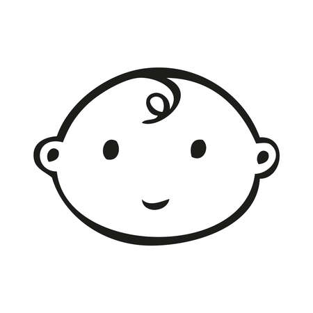 smiling line art baby face with downward curl Stock Illustratie