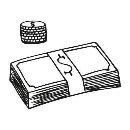 Paper and coin money pile vector art