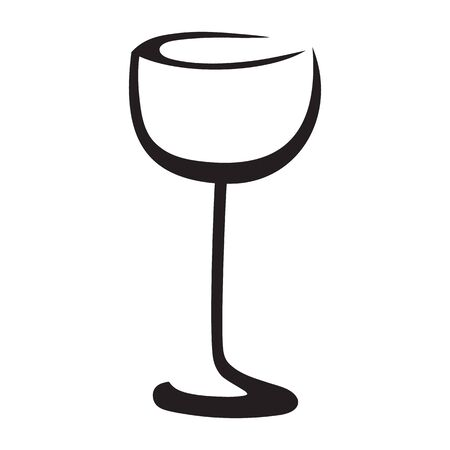 Isolated black and white wine glass with white backdrop