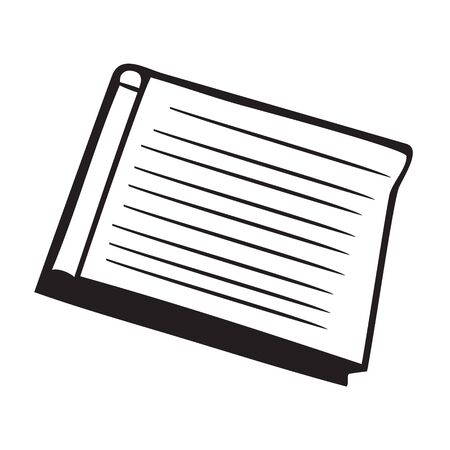 Black and white book icon isolated on white background