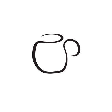 Empty white mug with handle on white background