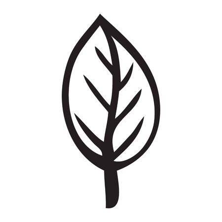 Black and white isolated leaf Icon issolated