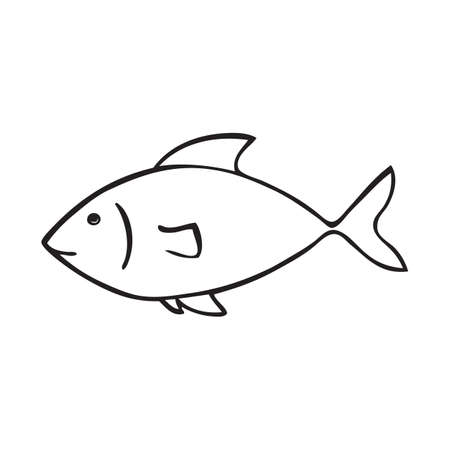 Black and white vector icon of fish