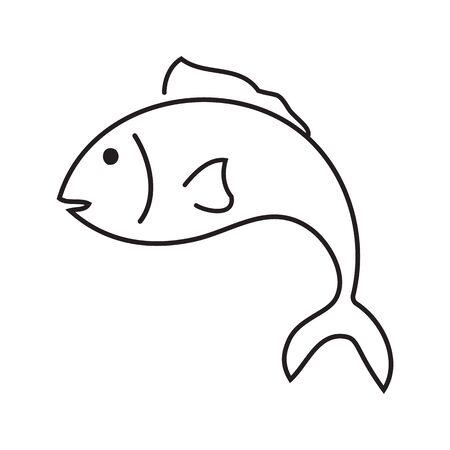 Balck and white fish on white backdrop Stock Illustratie