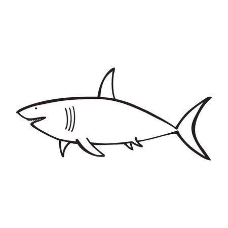 Black and white shark vector icon on white backdrop Stock Illustratie