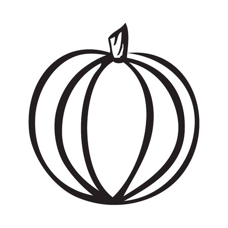 Black and white pumpkin icon with stem