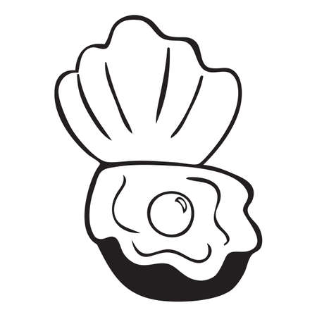 Isolated black and white shell with pearl icon Stock Illustratie