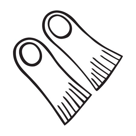Black and white isolated flippers icon Stock Illustratie