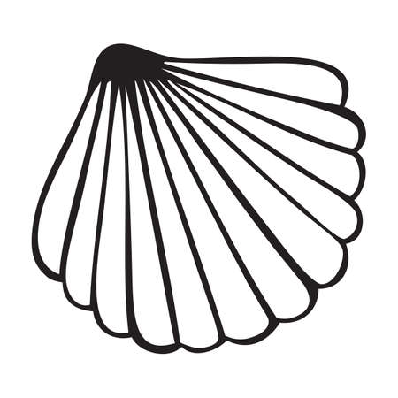 Isolated sea shell vector icon on white backdrop