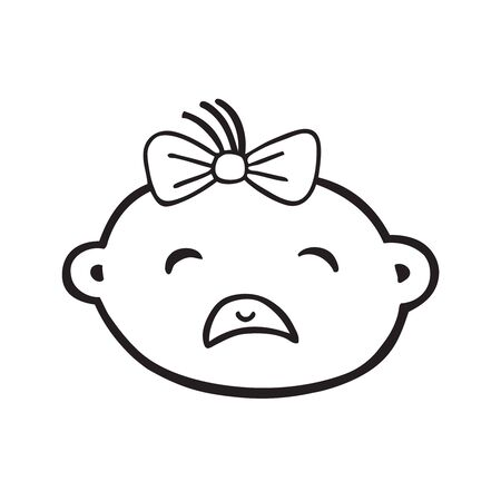 Crying baby girl infant with tears vector icon Illustration