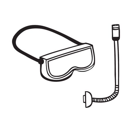 Black and white snorkel and mask icon