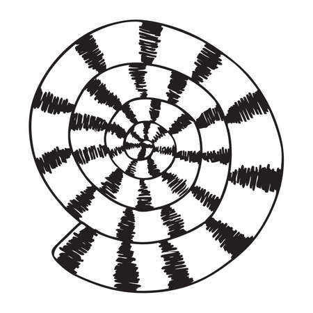 Black and white vector illustration of sea shell Stock Illustratie