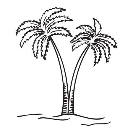 Black and white vector illustration of palm tree