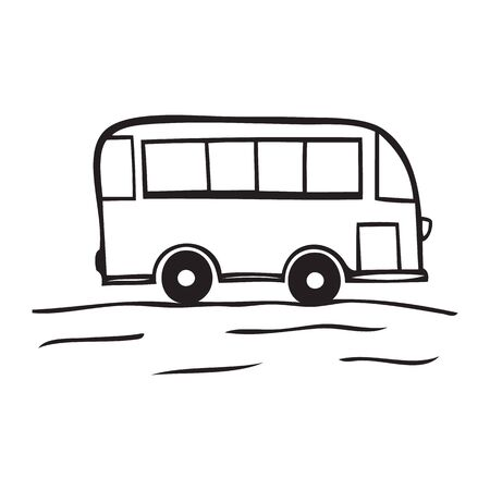 Black and white vector icon of school bus