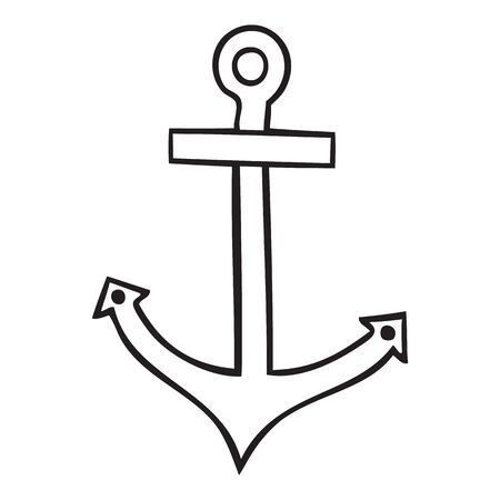 Black and white isolated anchor vector icon
