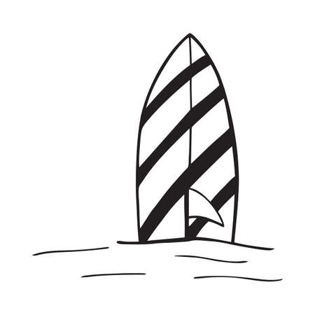 Surfboard icon in black style isolated on white background. Surfing symbol stock vector illustration. Stock Illustratie
