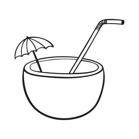 Black and white coconut vector icon with straw and umbrella