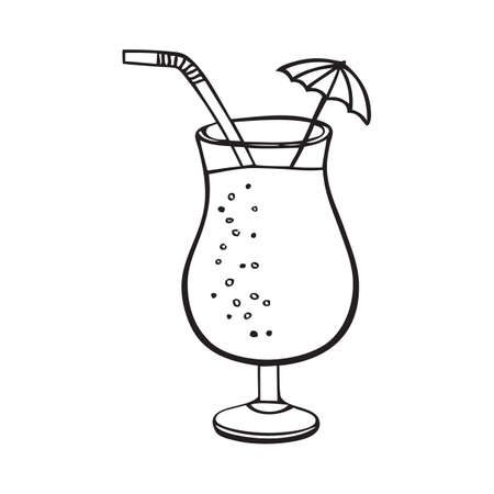 Black and white summer cocktail with umbrella and straw Stock Illustratie