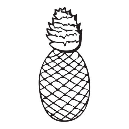 Black and white vector icon of pineapple