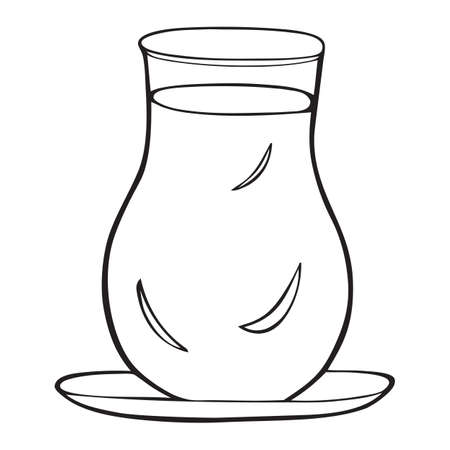 Black and white vector icon of turkish tea cup