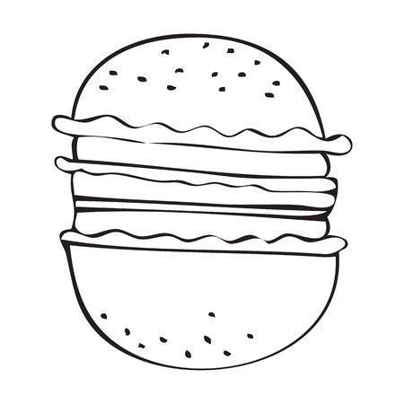 Black and white vector icon of hamburger