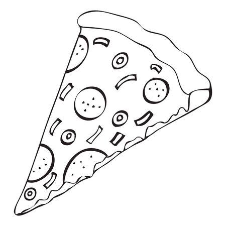 Black and white vector icon of pizza slice