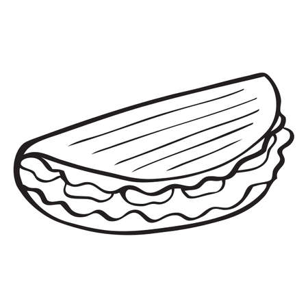 Black and white vector icon of taco