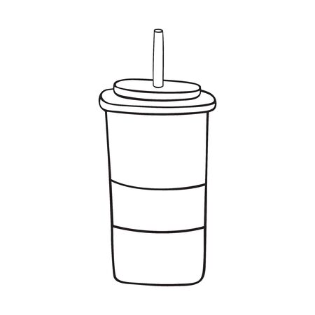 Black and white paper cup with straw