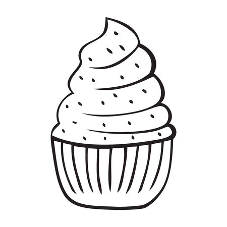 Black and white vector illustration of cupcake