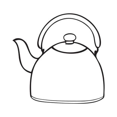 Black and white vector illustration of tea kettle