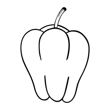 Black and white vector illustration of bell pepper Stock Illustratie