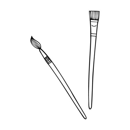 Two black and white paint brushes on a white backdrop Stock Illustratie