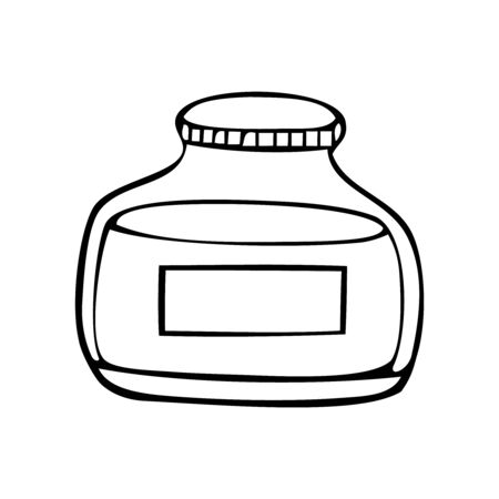 Black and white vector icon of rounded jar Banco de Imagens - 133199616