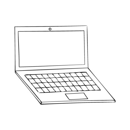 Black and white vector icon of a laptop Stock Illustratie