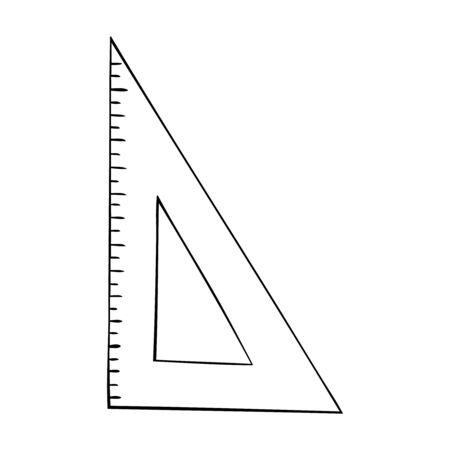 Black and white vector icon of a triangular ruler
