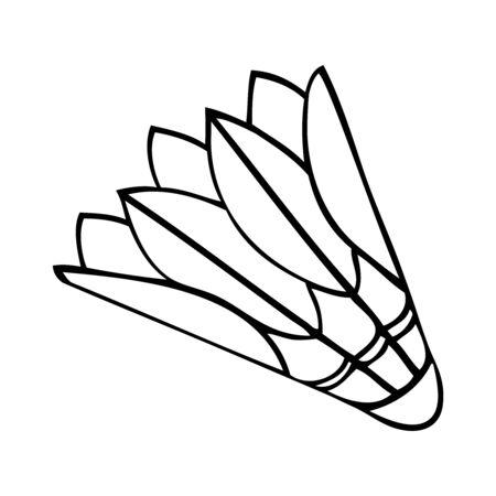 Black and white vector image of a badminton birdie