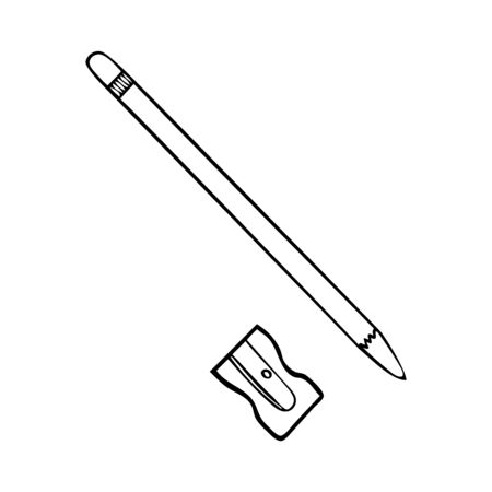 Black and white pencil sharpener and pencil icon