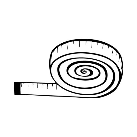 Black and white vector icon of a roll of measuring tape Stock Illustratie