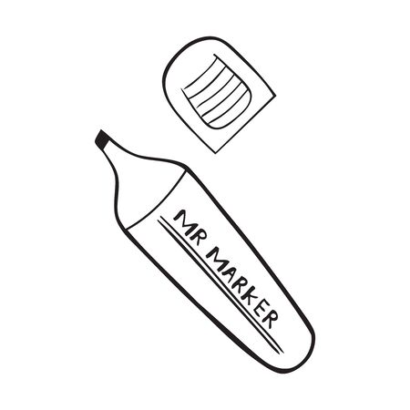 Black and white vector icon of marker with cap Stock Illustratie