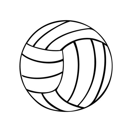 Black and white volleyball vector icon illustration