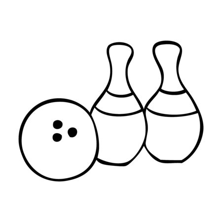 Black and white bowling ball and a pair of pins Stock Illustratie