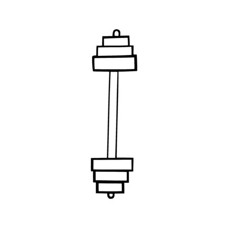 Black and white vector illustration of a dumbell