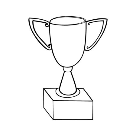 Black and white vector illustration of a trophy