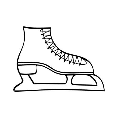Black and white ice skate vector illustration